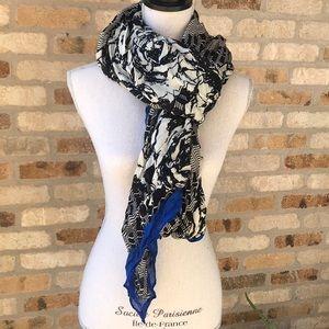 New Stella & Dot Black Blue Scarf Wrap